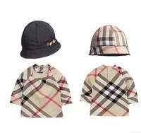 2014 NEW Retail Kids Tops Plaid Long Sleeves T shirt+Hat Children Girls t shirt top tee Roupa Infantil Children's T-Shirts