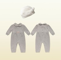 New Fall Long Sleeve Baby Rompers Wholesale Brand Cotton Infant Jumpsuit Baby Girl's  One-Pieces Bodysuit with Knitted Hat