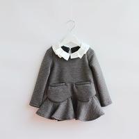2014 New,girls striped dress,children autumn dress,long sleeve,pocket,5 pcs/lot,wholesale,1841