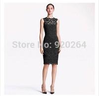 New European Ladies Sleeveless Summer Lace Dress Fashion Women Six Clothes Green Black White Dresses C-YW018