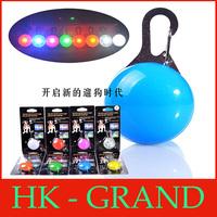 free shipping 200pcs 8 Colors LED Flasher Blinker Buckle Clip Pet Luminous Pendant Circular Light for dog cat Led Tags Pendants