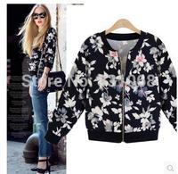 452014 New Women's Jacket Fashion Zipper Long Sleeve Lady Coats Print Chiffon XL Thin Summer Jacket for Lady in Stock