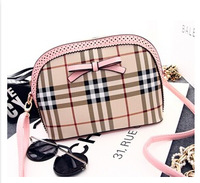 new 2014 han edition fashion classic grid bag small seashells one shoulder oblique cross bows female bag