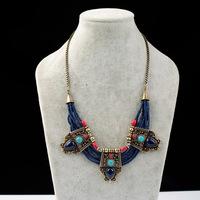 Antique Gold Royal Blue Seedbeads Bib Necklace