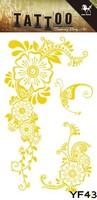 Hot Sale Temporary Flash Gold Tattoo Stickers Body Art Supermodel Stencil Designs Waterproof Tatoo Pattern