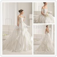 2014 Lace Ruffles Backless With Detachable Sleeves Backless Sheer Luxury vestidos de novia Wedding Dress Bridal Gown Custom Made