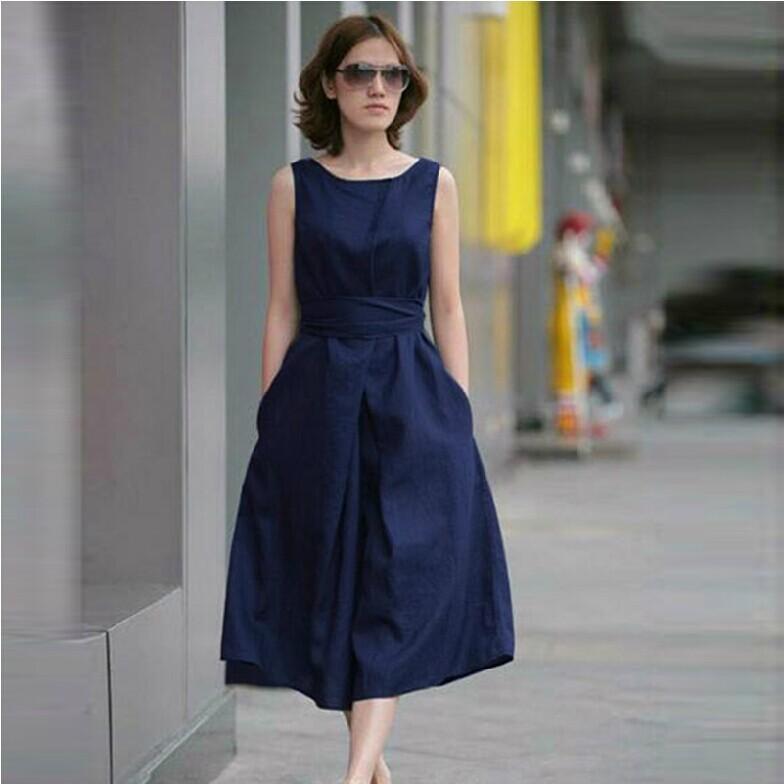 2014 one-piece dress female sleeveless belt full dress pure linen plus size clothing fluid loose one-piece dress(China (Mainland))