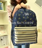 Free shipping  HOT 2014 Navy stripes Backpack School Bag retro anchor Student Backpack Bag Korean women
