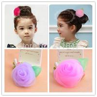 Retail order New Kids/Girl/Princess/Baby Rose Flower Hair Clips/chiffon Hair Pins/Hair Accessories/ Wholesale P55