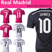 Fast Free Shipping Real Madrid 2015 Soccer Jersey black top thailand quality football jersey Ronaldo Chicharito camiseta Jersey