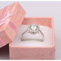 Engagement Ring Gift Box Packing 18k white gold filled Womens ring Wedding Bands Shine