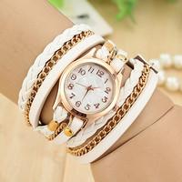 Vintage Women Dress Watches Gold Dial Women Leather Strap Quartz Wrist Watches Chain Wrap Watches Retro Style AW-SB-1071