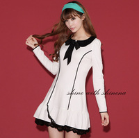 2014 new style black and white lapel flouncing College hit the color long-sleeved dress