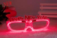 LED Flashing Happy New Year Eyeglasses Light Up Party Holiday Supplies Kids Adults Bar Club Disco Wedding Xmas Decorations 2015