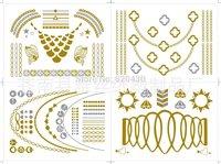 4pcs/set Flash Tattoo child of wild Metallic tattoo golden tattoo Gold and Silver Skin Temporary Tattoosticker--free shipping