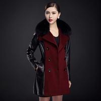 2014 Europe Style Cashmere Spliced Women Genuine Leather Coat Natural Fox Fur Collar Waist Belt Double Button For Autumn OL Slim
