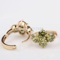 Low price hot selling womens or girls hoop earrings 18k real yellow gold filled earrings crystal Xmas gifts