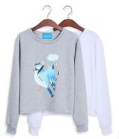 Casual Sweatshirt Women Hoody Fashion Colorful Bird Printed Hoodies Female Long Sleeve Thin Pullovers Autumn Wear HO8075