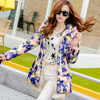 2014 new winter Korean girls long XL Camouflage Military put down jacket