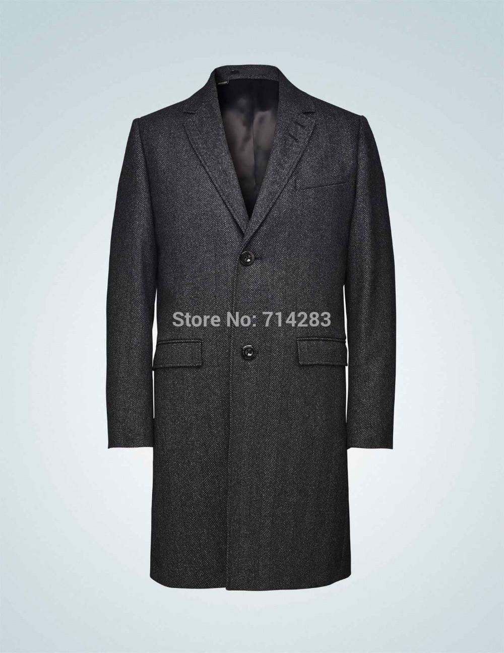 Men Business Stylish Long Coat Tailored Wool handwork Fashion Designed TIGER001471(China (Mainland))