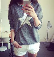 2014 Women Sweatshirts Fashion Star Printed Hoodies Long Sleeve Hoody New O-neck Loose Pullovers 4 Color Ho8077