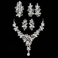 N-Z Flowers Rhinestones Made Luxurious Wedding Jewelry Set Be Elegant Charming Bride JS-SZ0064