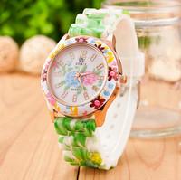 New Fashion Silicone Flower Watches Women Dress Watches Quartz Watches AW-SB-1070