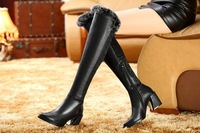 The new trend of winter cowhide soft rubber surface high-heeled boots in Europe and America spell color soft surface Women's Boo