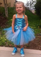 2014 New Summer Frozen Dress Blue Gallus Strapless Voile Princess Girls Dresses 5 pieces / lot 1208