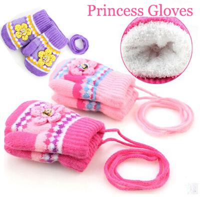Winter fashion thick warm children s gloves princess infant baby girls