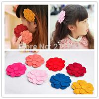 Free Shipping 28PCS New wool Flower Girls Headwear Children Hair Holder hair accessories for girls Hair Stickers P23