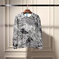 Men zebra stripe print fleece neoprene round collar hip hop sweatshirt element pullover N90027