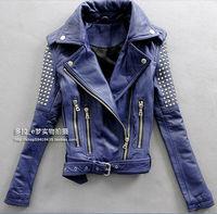 Luxury Girl's Women 100% Sheep Skin Leather Jacket Coat Slim Collar Zipper Korean Fashion Rivet Purple Sexy Motor Free Shipping