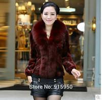 Luxury Fox Fur Collar Splice Fight Mink Fur Coat Women's Slim Casual Fur Coats and Jacket Plus Size S-5XL Winter Warm Outerwear
