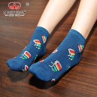 Fashion British style retro hit color sub on the streets of cotton Musical series pattern Harajuku socks 5 pair