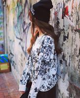 Fashion Scrawl Hoodies Women's Printed Hoody Long Sleeve O-neck Pullovers Sweatshirts Ho8082