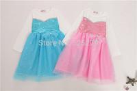 1pc Princess Frozen Dress Elsa dress Baby Girls Dress autumn longsleeve kids clothes Ball Gown with sequins blue pink