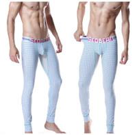 MALE pyjama Thin Plaid male Soft cotton flowers Thermal Male long johns warm pants  underwear