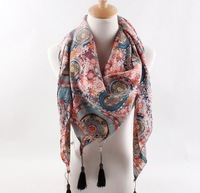 Ms. Scarf wholesale European and American style retro big circle flower fringed Scarf brand Scarf Shawl