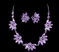 Romantic Noble Purple Necklace And Earring Set Floral Bridal Wedding Jewelry Set Including Necklace And Earring