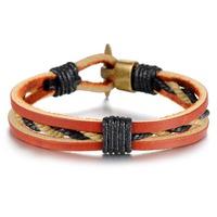 Мода Аксессуары Бижутерия подарок титана Пу кожа ткачества вязаный мужской браслет для мужчин