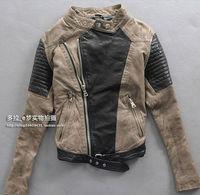 Luxury Girl's Women 100% Sheep Skin Leather Jacket Coat Slim Collar Zipper Korean Mixed colors Fashion Rivet  Motor Free Shiping