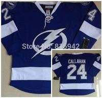 Tampa Bay Lightning #24 Ryan Callahan White Blue Home Ice Hockey Jerseys cheap