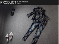 014 autumn winter designer new womens pant suit denim beading collar zipper waist vintage pattern print fashion brand pants set
