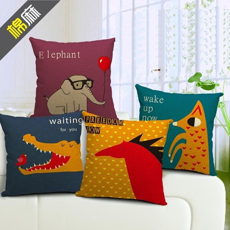Capa de almofada travesseiro elefante dos desenhos animados crocodilo cavalo balão fronha de linho algodão 45 x 45 cm almofada capa sofa chair couch(China (Mainland))