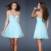Sexy High Quality Blue Sweetheart A-line Chiffon MIni Cocktail Dress E125