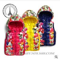 free shipping russia winter vest children winter hooded vest girl baby hood cotton vest flower outwear cotton coat jacket