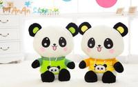 Free Shipping 2 Colors Cute Stuffed Animal Doll 19'' 48cm Nice Clothes Plush Panda High Quality Soft Toy Birthday Christmas Gift