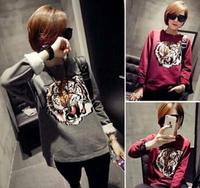 2014 New Fashion Animal Hoodies Women's Tiger Printed Pullovers Long Sleeve O-neck Sweatshirts Ho8083