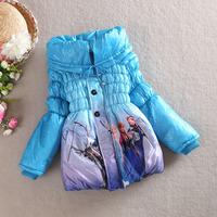High quality 2014 new winter Frozen princess girls baby warm jacket children cotton-padded clothes kids blue Outerwear & Coats